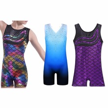 BAOHULU 3-11 Years Sleeveless Shiny Leotards for Girls Sparkle Mermaid Gymnastics Costume Biketard Ballet Dance Leotard Kids