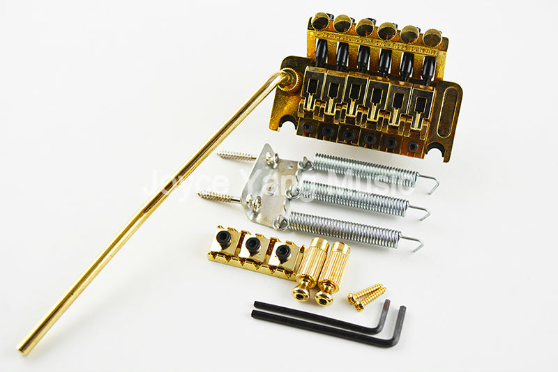 New Gold Floyd Rose Lic Electric Guitar Tremolo Bridge Double Locking System Free Shipping Wholesales genuine original floyd rose 5000 series electric guitar tremolo system bridge frt05000 black nickel cosmo without packaging