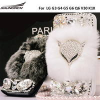 Leather Flip Case Luxury Real Rex Rabbit Fur Fox Decor Shell Furry Diamond Crystal Cover Full