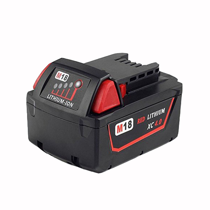 New 18V Lithium Ion 4000mAh Replacement Rechargeable Power Tool Battery for Milwaukee M18 XC 48-11-1815 M18B2 M18B4 M18BX Li18 18v li ion 3000mah replacement power tool battery for milwaukee m18 xc 48 11 1815 m18b2 m18b4 m18bx li18 with power charger