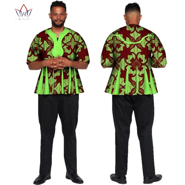 Dashiki Men Top Print Tee Bazin Riche African Men Clothes 100% Cotton  Patchwork Top Shirt Traditional African Clothing WYN441 ecb654b0b2ea