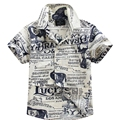 2016 new arrival cotton 100% floral shirt hawaiian shirt aloha shirt for boy T1542