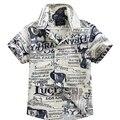 2016 nuevo algodón de la llegada 100% camisa floral camisa hawaiana aloha camisa de chico T1542