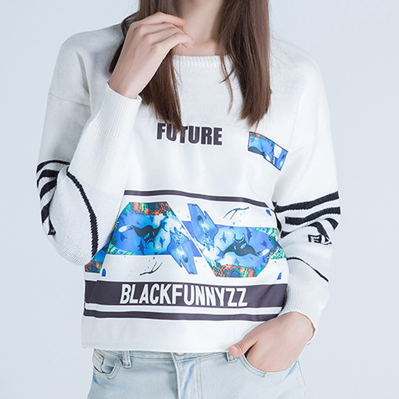 Ugly Christmas Luxury Sweater Autumn Winter Fashion Women Letter Print White Black Sweaters & Pullovers Jumper Knitwear Jumper