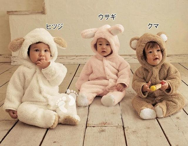 Cute Animal Winter Long Sleeved Baby Hooded Costume Outfit One Piece 6-24M