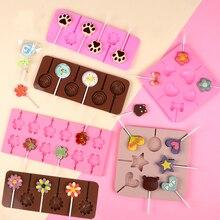 Круглый Цветок силиконовая форма для леденцов Поп палочки сумки украшения торта инструменты 3D ледяные конфеты шоколадные формы выпечки инструмент