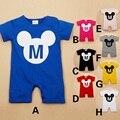 Mickey Pura Cor Sólida Macacão de Bebê Recém-nascido Roupas Bebe Roupas infantil Meninos Traje Shortall Macacões 80 90 95 Algodão