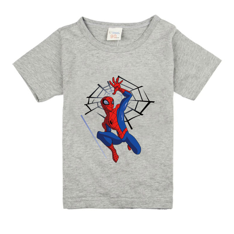 2018 New Cartoon Spiderman Printing T-shirt For Boy Girls Short Sleeves 100%Cotton T Shirt Children Summer Tee Tops Clothes