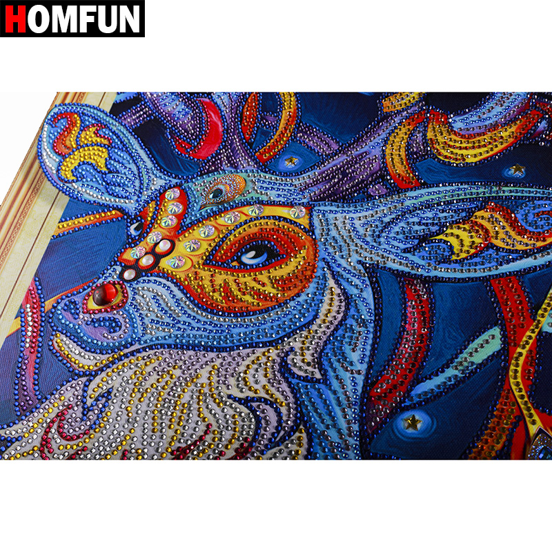 HOMFUN 5D Diamond Painting Animal Special Shape Diamond Embroidery Deer Rhinestone Paint By Diamonds Handicraft Gift 40x50cm in Diamond Painting Cross Stitch from Home Garden