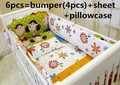 Promotion! 6/7PCS Baby Crib Bedding Sets Baby Cot Bedclothes Crib Bumpers Mattress Bedding  t,120*60/120*70cm