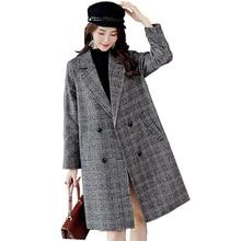 все цены на New Winter Woolen Jacket Temperament Female Models Loose Fashion Long-sleeved Plaid Wool Coat онлайн
