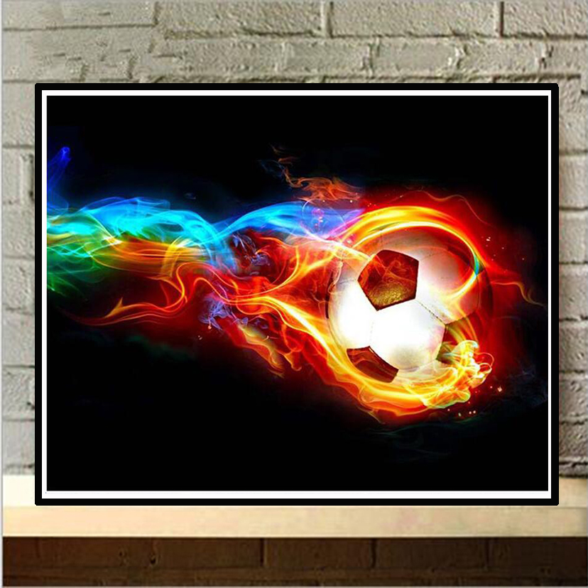 """Full Square/Round Drill 5D DIY Diamond Painting """"Abstract fire football"""" 3D Embroidery Cross Stitch Mosaic Decor gift NEW358"""