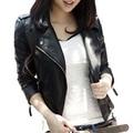 Новая весна осень 2016 женщин куртка черного мода тонкий S-3XL искусственная кожа мотоцикл короткие пиджаки Jaqueta Feminina Damen куртка