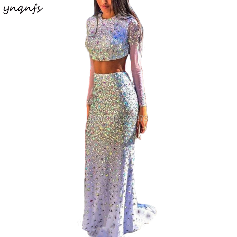 YNQNFS PD109 Elegant Crystal   Dress   Two Piece Long Sleeve Sexy Mermaid Prom Party Gown   Bridesmaid     Dresses   2019