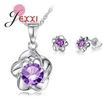 JEXXI Luxury Classic S90 Silver Rose Flower Necklace Purple Cubic Zirconia Stud Earrings Bride Wedding Jewelry