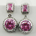 New Pink Simulated Sapphire Woman 925 Sterling Silver Crystal Earrings TE520