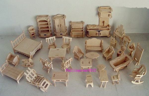 1 24 lovely 34pcs woodcraft wooden dollhouse doll house