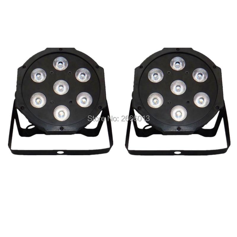 2pcs/lot 7x12W LED Par RGBW 4IN1 LED Wash Light Stage Uplighting No Noise DMX512 Led Flat Par Lights dj equipment dyeing lamps
