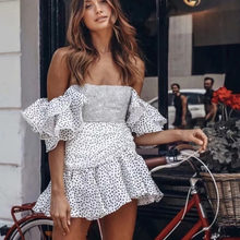 summer short butterfly sleeve strapless sexy pleated mini dress vintage polka dots women ME111(China)