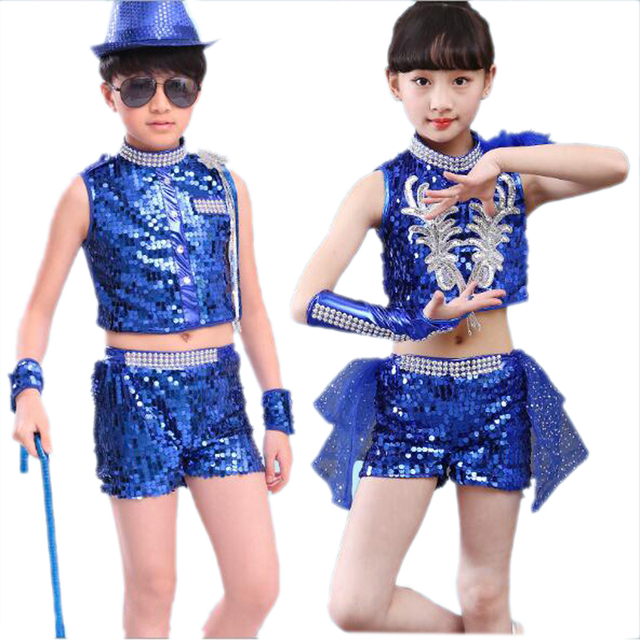 752a85a9f BAZZERY Girl Boy Jazz Dance Costumes Kids Hip Hop Dancing Wear Children  Performance Jazz Suit Modern Dance Clothes 100-160cm