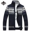 Mens Cardigan Camisolas Casuais 2017 homens Novos do inverno Quente Dos Homens Zipper Cardigan Gola de Malha Blusas 3 Cores Mais tamanho