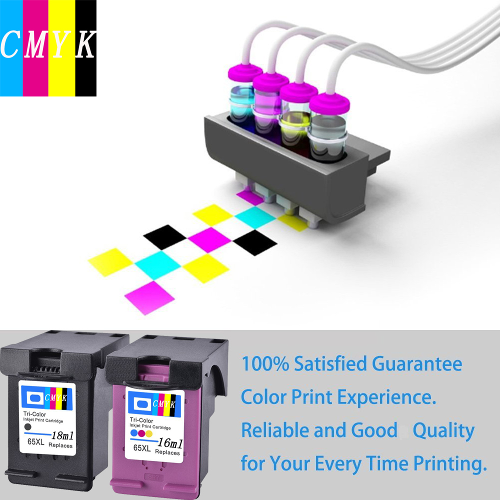Hisaint For Hp 65 65xl Black Tri Color Ink Cartridges Replacement 680 Colour 2 Pack N9k04an N9k03an High Yield Deskjet 3752 In From Computer
