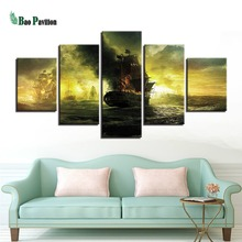 Canvas Art Prints Wall Modular Picture 5 Panel Pirates Of The Caribbean Waves Sea Modern Frames Paintings Decor Kids Room