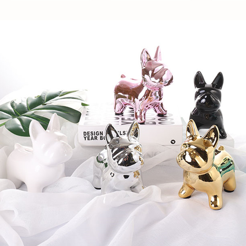 Plating Cute Bulldog Money Boxes Imitation Dog Piggy Bank Cabinet Ornaments Family Decorative Pop Art