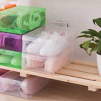 12pcs children/women/men Transparent Makeup Organizer Clear Plastic Shoes Storage Box Foldable Shoes Case Holder Home Organizer