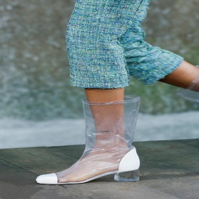 2018 New Summer Fall PVC Transparent Boots Chelsea Boots Shoes Clear Chunky Heels Mujer Square Heel Women Rain Boots J009
