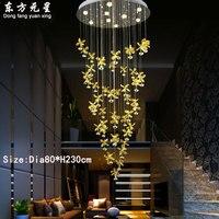 Хрустальная люстра лампы светодиодные центру лестницы Ligting вилла гостиная лобби Творческий подвесной светильник украшения