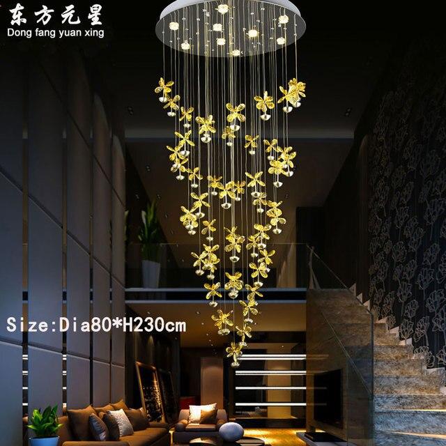 crystal chandelier lamp led light revolving stair ligting villa living room hotel lobby creative hanging lamp decorations