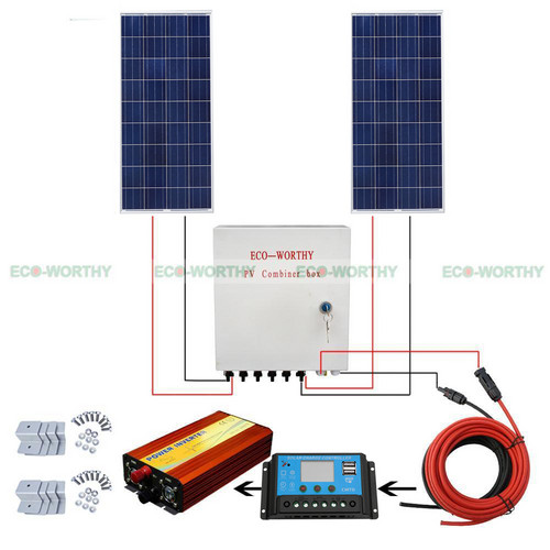 200W SOLAR SYSTEM 2x100W SOLAR PANEL W/ SOLAR COMBINER BOX FOR CHARGE 12V CAMP solar energy system solar cell solar panel