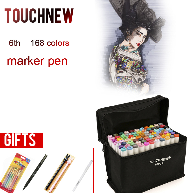 TOUCHNEW 30 40 60 80 168 Colors Markers Pen Painting Manga Art Marker Set Stationery Pen For School Sketch Markers touchnew 7th 30 40 60 80 colors artist dual head art marker set sketch marker pen for designers drawing manga art supplie