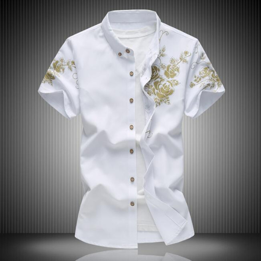 2018 Frühling Und Sommer Explosionen Gedruckt Große Größe Tourismus Männer Casual Shirt Mode Baumwolle Männer Shirt Kurzarm Feines Handwerk
