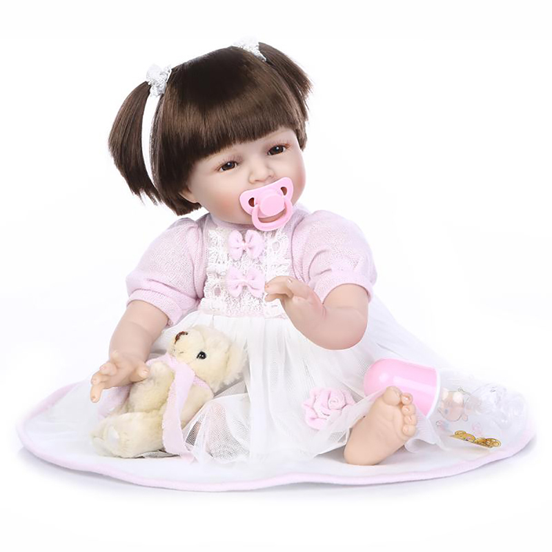 22'' Realistic Lifelike Newborn Smile Baby Girl Dolls Reborn Baby Doll Soft Vinyl Cloth Body Reborn Baby Alive For Birthday Gift