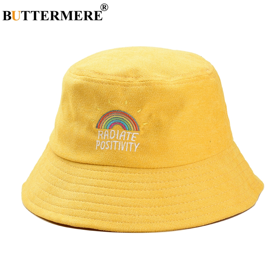 BUTTERMERE Women Bucket Hat Yellow Rainbow Corduroy Fishing Hats Men Summer Vintage Ladies Hip Hop Street Unisex