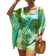 Women Summer Fashion Boho Print Colorful ink Bat Short Sleeve Playsuit Holiday Chic Jumpsuit