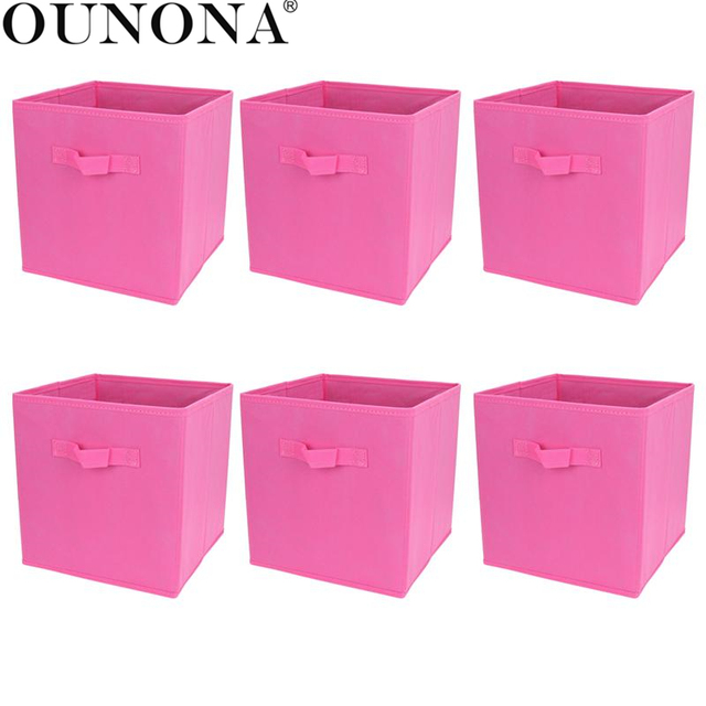 Charmant 6PCS Foldable Collapsible Fabric Storage Cube Baskets Boxes Bins Organizer  Toys Books Storage Collection Containers Drawers
