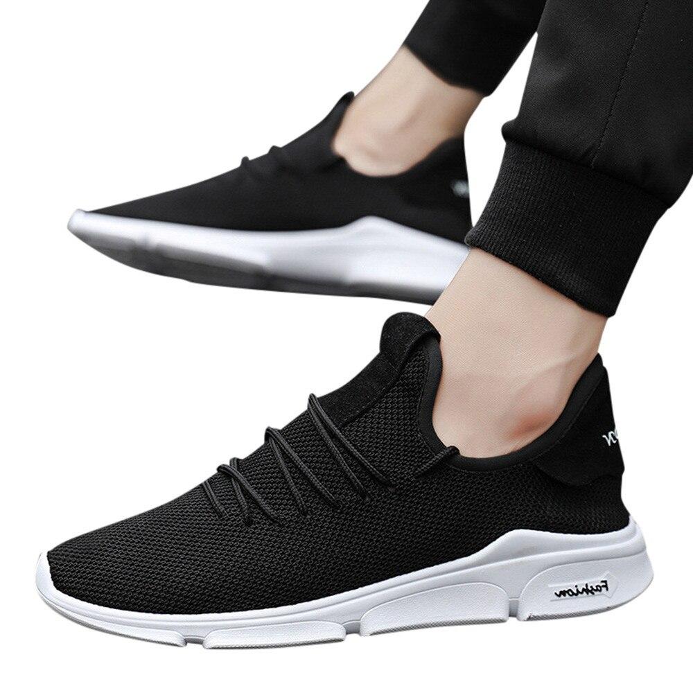 D'été Respirant Plat Chaussures up L3 Casual Mode Dentelle Hommes blanc Garçons Solide Sneakers vert 2018 Youyedian Noir wqI87zWXn
