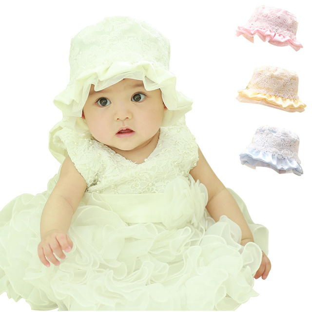 c9f22a73ac9 Lace Mesh Baby Hats For Girls Floral Lace Infant Bucket Hat Solid Cotton  Baby Cap Warp