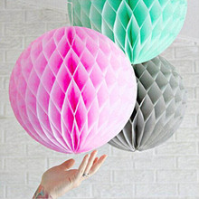 3pcs 20cm Tissue Paper Honeycomb Balls  (Pink,Grey,Mint) Hanging Fluffy Wedding Party Decor Festival Birthday Supplies