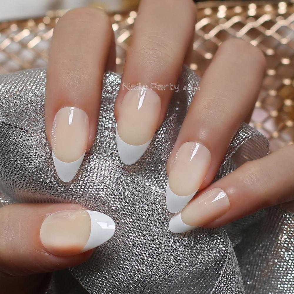 Glossy French 24pcs False Nails Medium Stiletto Natural Semi Transpa Light Yellow Short Almond