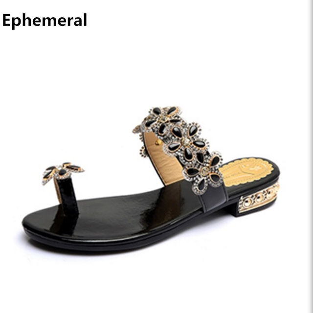 ff16153af342f Women s slides flower diamond crystal shoes thong low heel slippers for  summer black and white plus size 40 outdoor flip flops