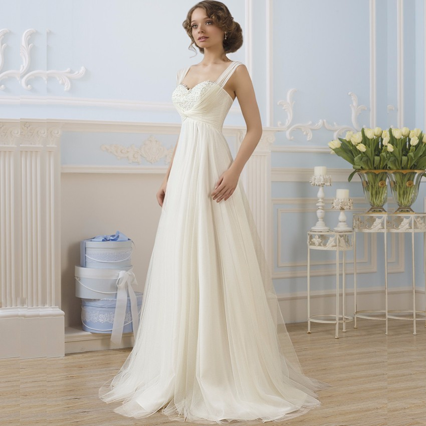 Wedding Gown For Pregnant Bride: Simple Empire Maternity Wedding Dresses Tulle Honeymoon
