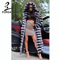 FURSARCAR 130 CM Long Women Real Fur Coat Fashion New Rex Rabbit Fur Coat With Fur Hood Luxury Winter Rabbit Fur Jacket