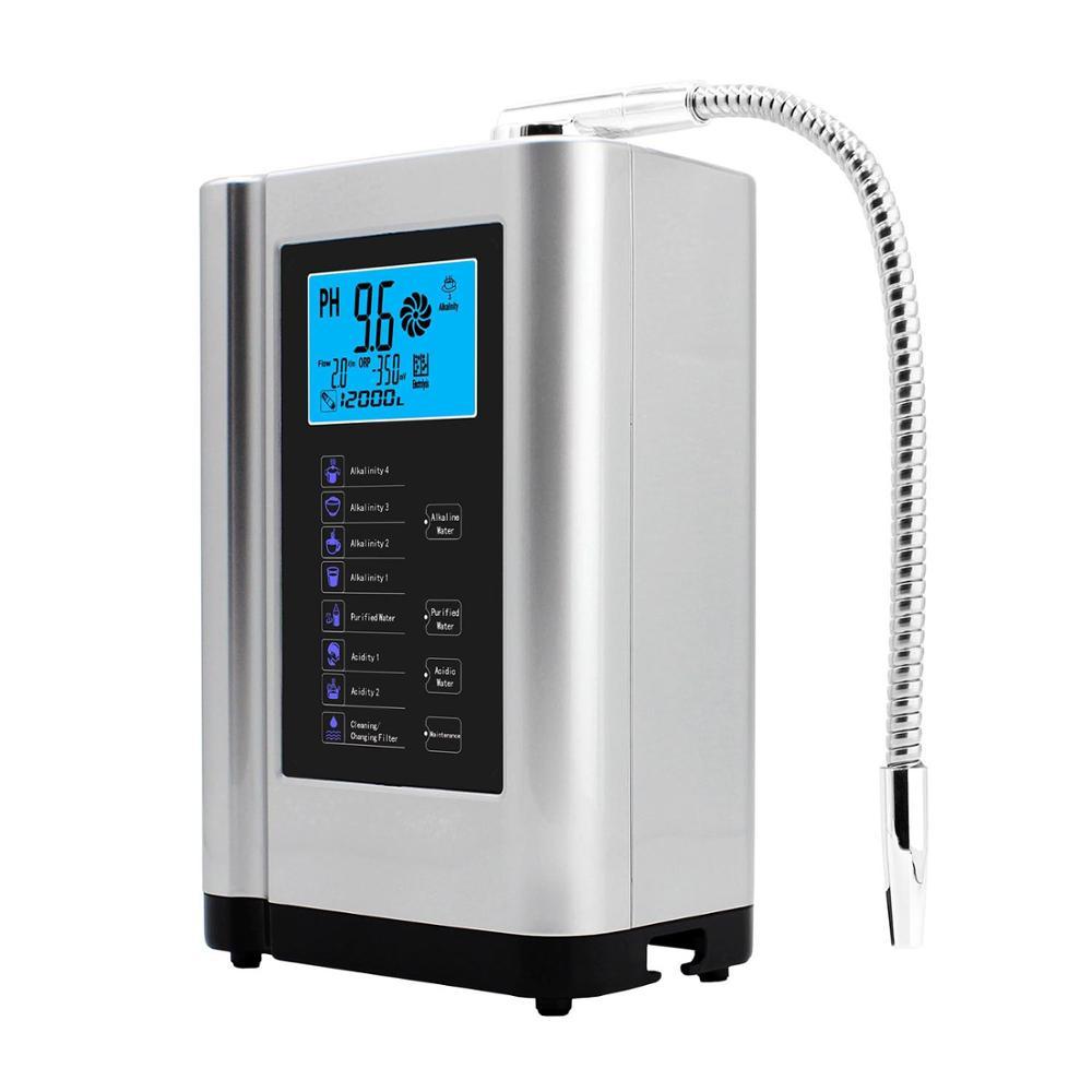 Ionizador de Água alcalina Purificador Máquina Produz Ácido Alcalina pH 3.5-10.5 até-650mV ORP LCD Toque Água filtro de ionização