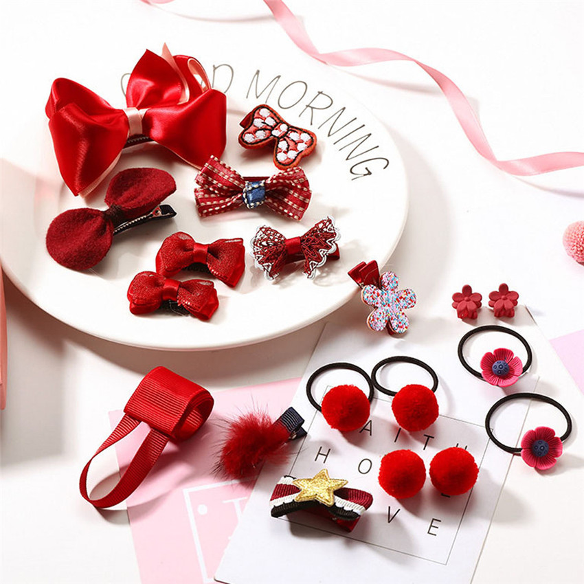 2018 new 18Pcs Kids Infant Hairpin Baby Girl Rabbit Bowknot motifs Hair Clip Set hair styling tools