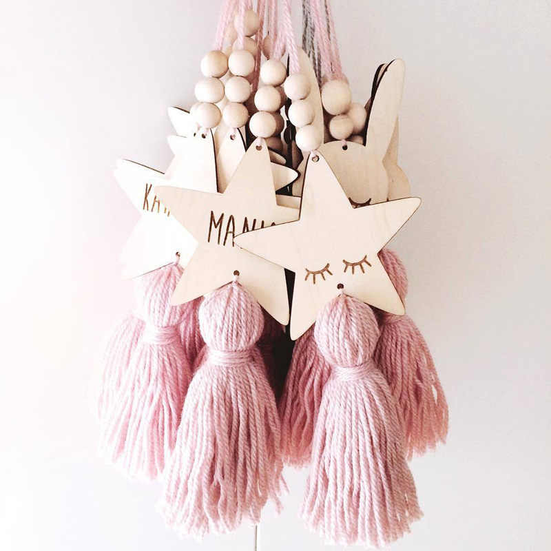 Nordic Kids Room Decoration Crafts Sleepy Eyes Wood Eyelash Wall Hanging Stars Decorative Beads Tassel Photography props Gift