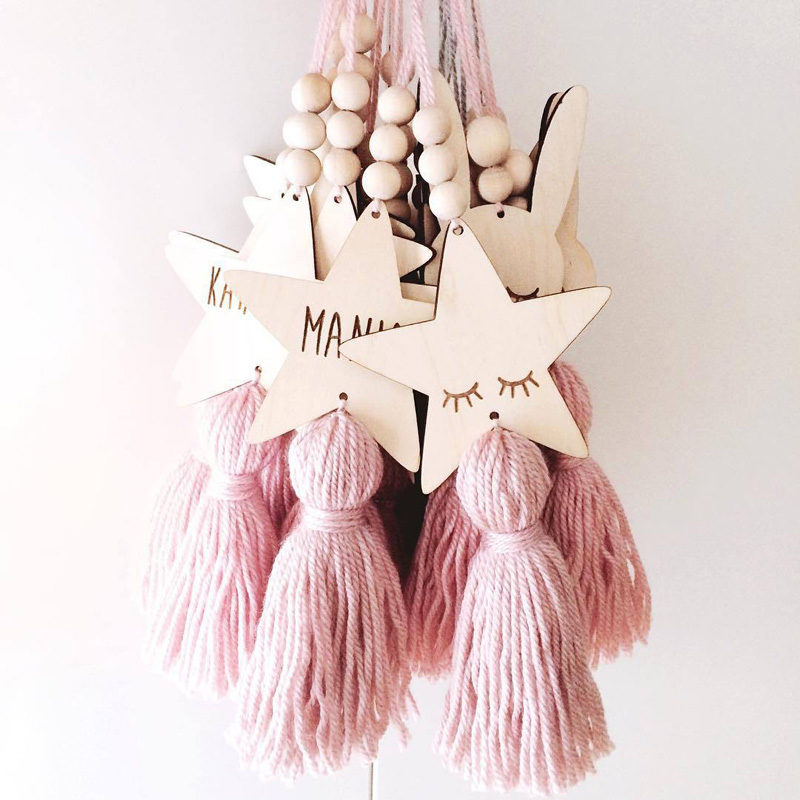 Copiii de Nord Decoratiuni Artizanat Sleepy Eyes Wood Eyelash Wall Hanging Stars Margele Decorative Tassel Recrutare Fotografic Cadou